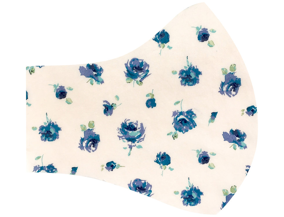 Liberty of London - Blue Roses tana lawn cotton face mask, face covering with adjustable elastics