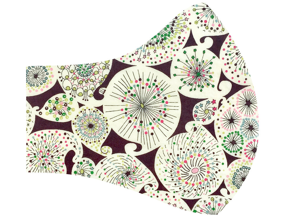 Liberty of London - Green and Chocolate Astro Flower 100% tana lawn cotton face mask, face covering with adjustable elastics