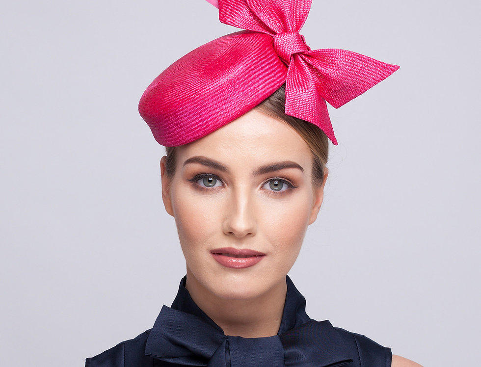 Zeta straw pillbox hat with bow and feathers