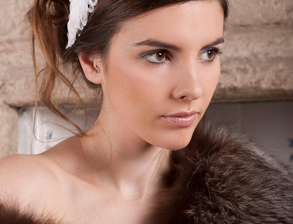 Lisette curled feather wedding headband