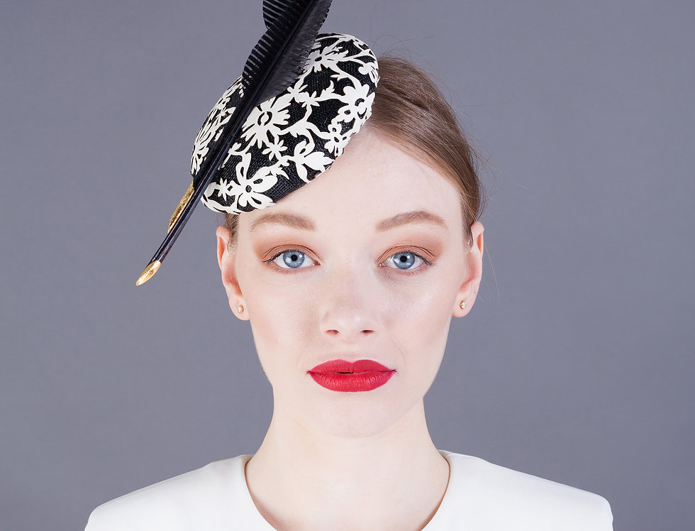 Hana small pillbox smartie hat with geometric leather overlay and 2 feathers