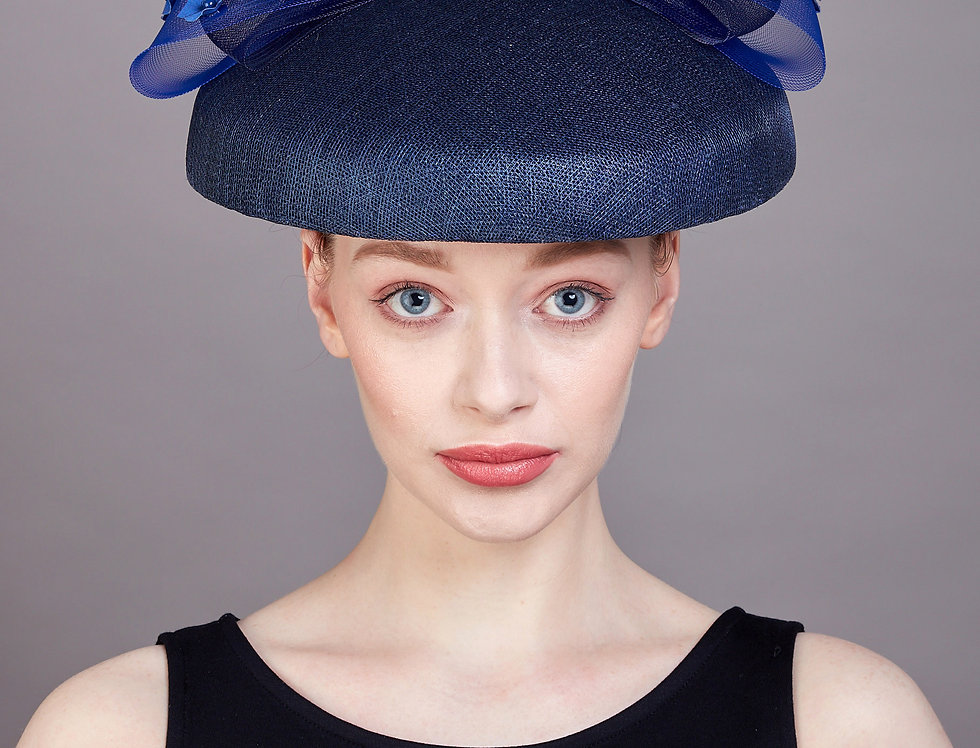 Abella sinamay hat with contrasting under brim and bow with origami flowers - front view