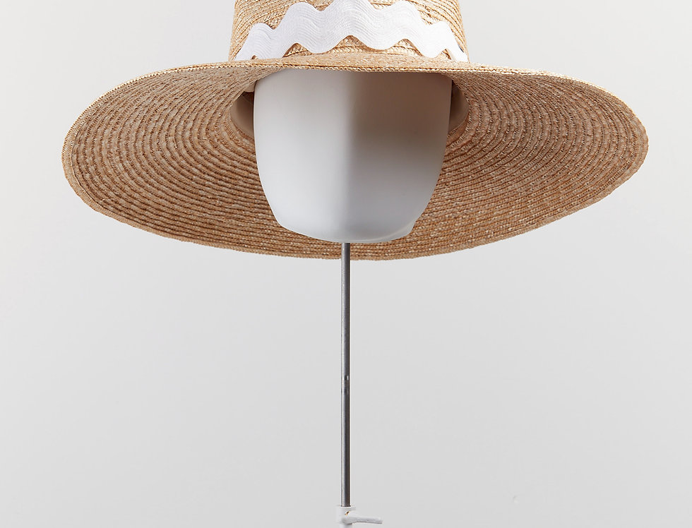Wiggle straw fedora sunhat with white trimming - front view