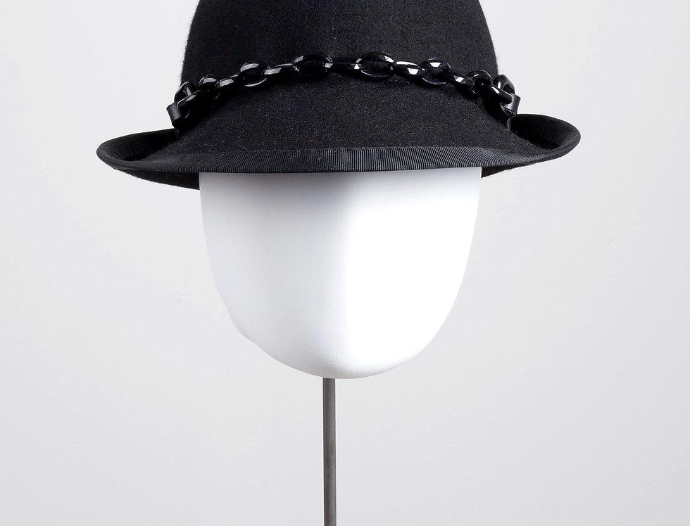 black chainlink woolfelt trilby hat - black - front view