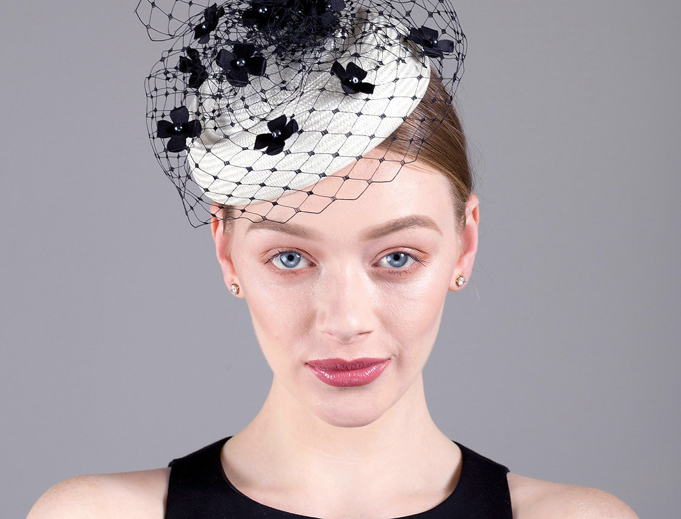 Mireille parisisal straw pillbox hat with veiling and tiny silk flowers