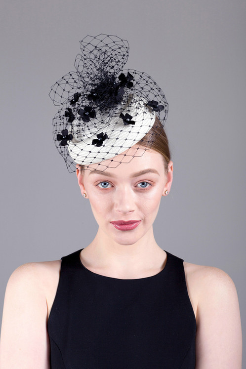 fe106ae36a6a3 Mireille parisisal straw pillbox hat with veiling and tiny silk flowers