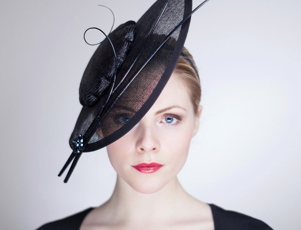 Mita saucer hat with transparent brim, scalloped crown and quills