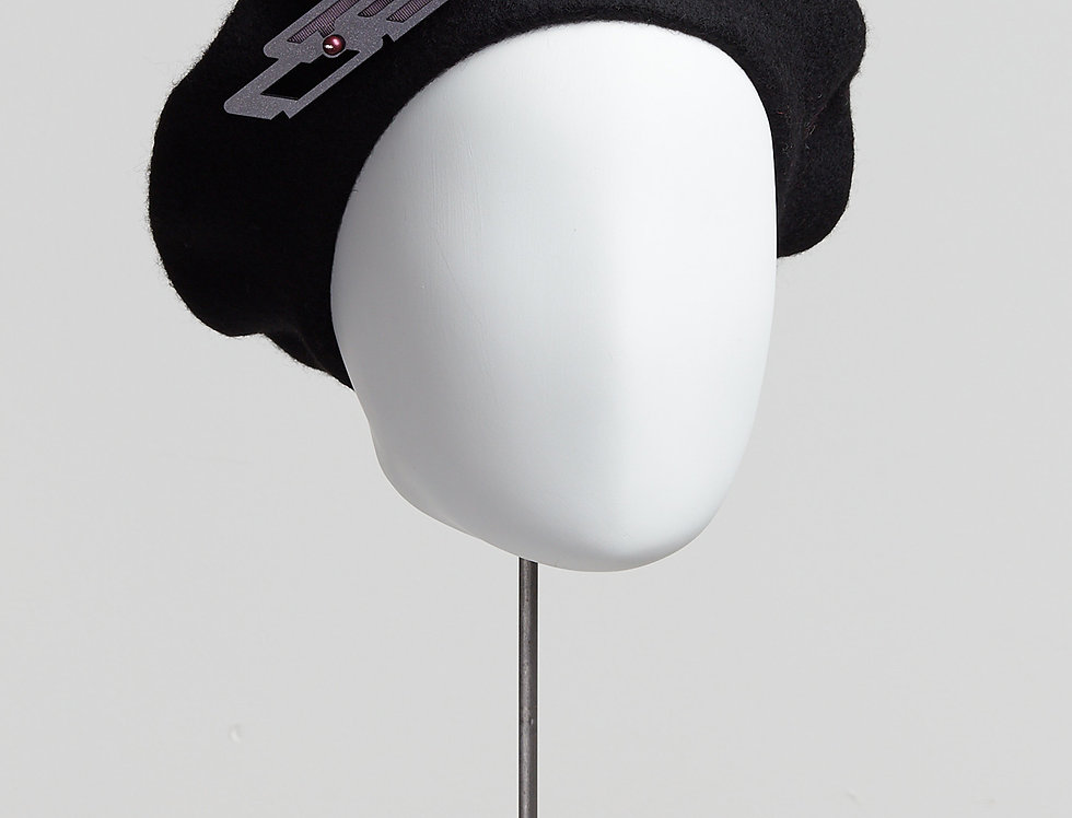 black 100% wool beret with laser-cut acrylic brooch with Swarovski pearls - front view