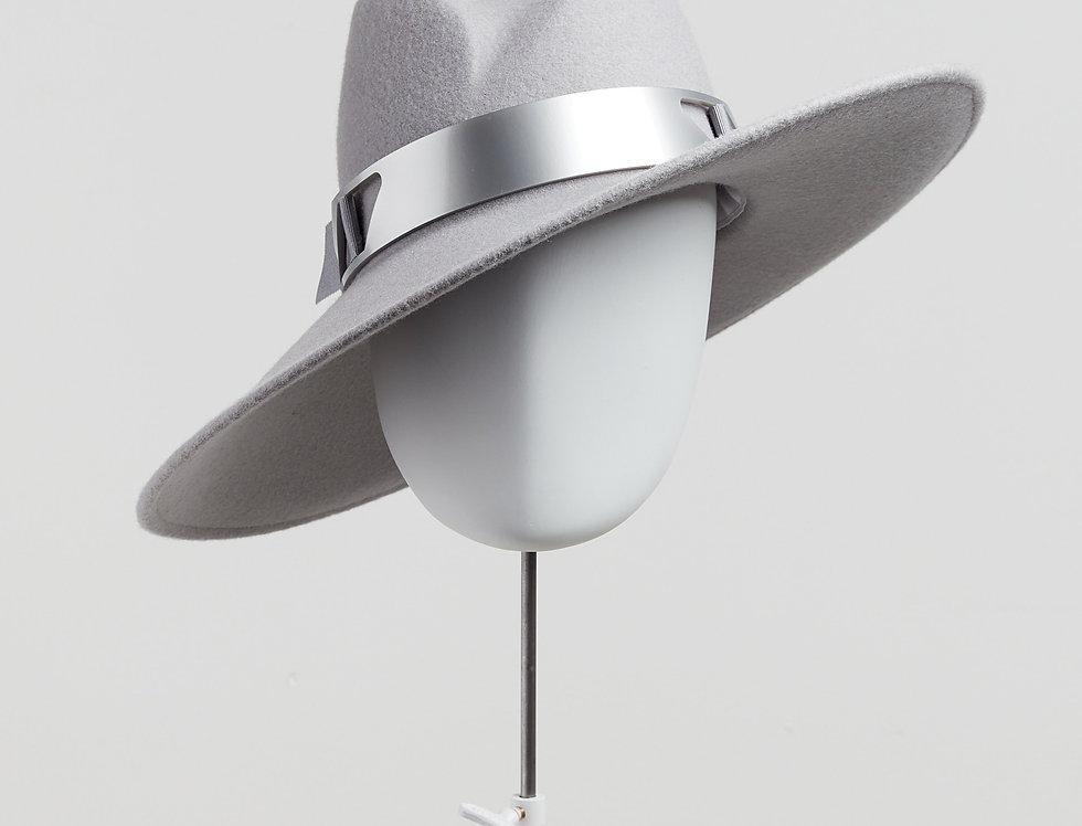 Sally-Ann Provan - Fenella wool felt fedora hat with silver acrylic trim - pale grey - front view