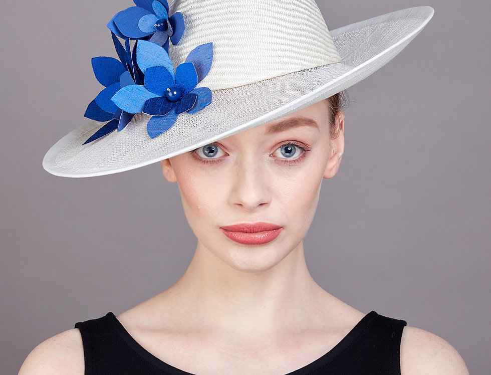 Aurore smart occasion fedora style hat with translucent brim and spray of flowers - front view