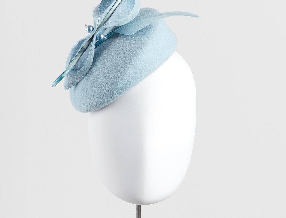 Asa felt pillbox hat with bow and feathers - front view