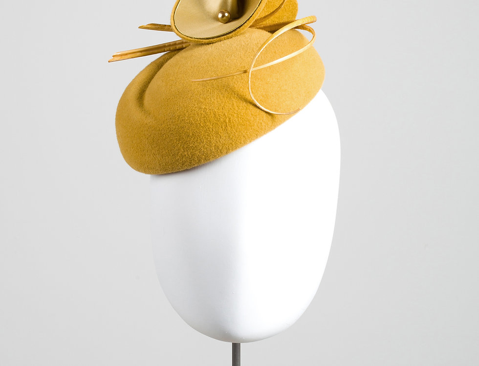 Asagao felt pillbox hat with felt abstract flowers and quills