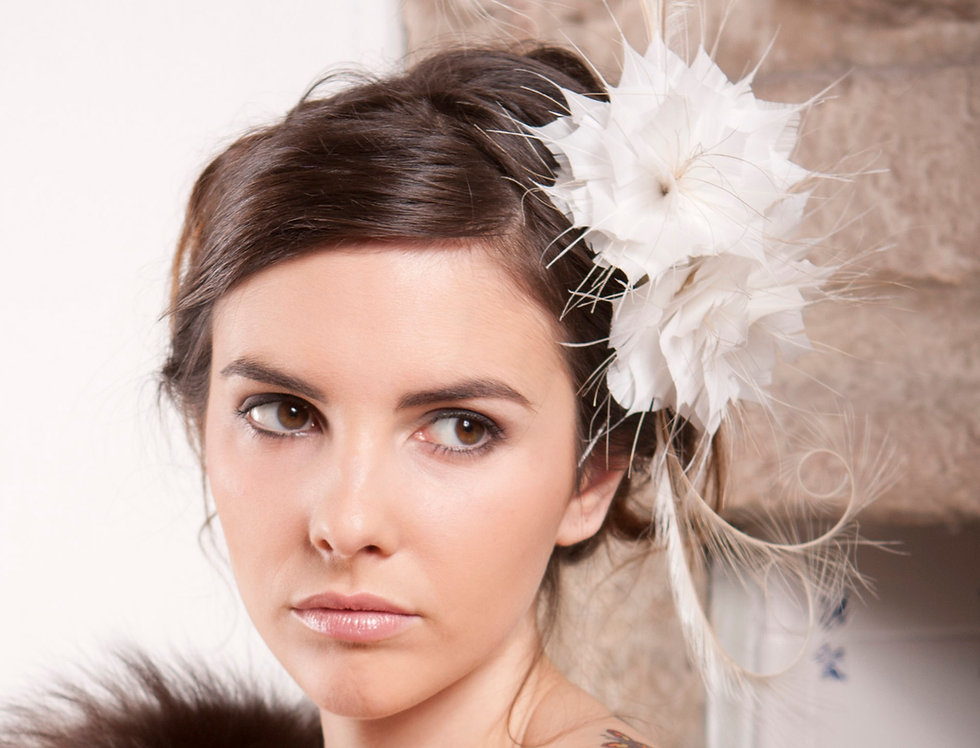 Four Fronds bridal wedding fascinator made from 2 feather flowers