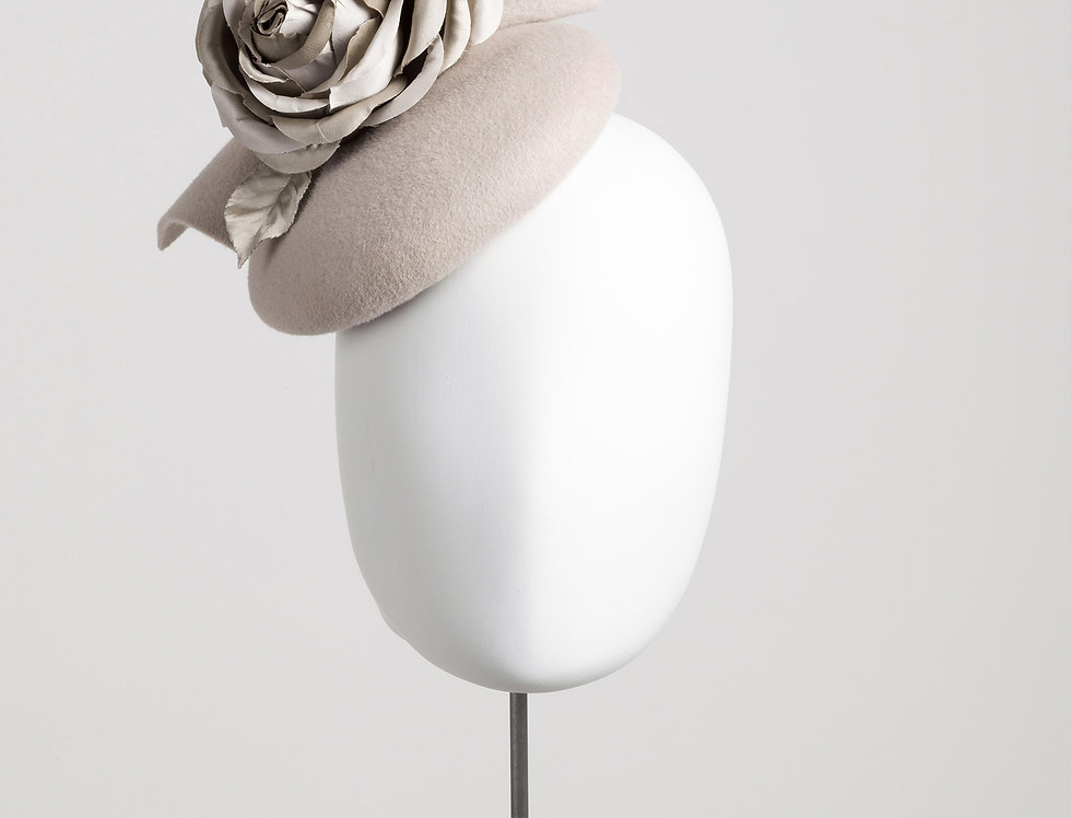 Felt pillbox hat with large silk rose - front view
