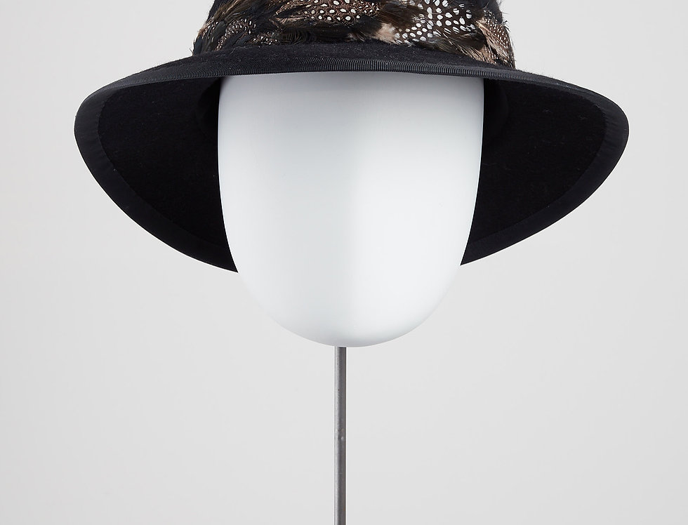 woolfelt fedora with feathered hatband - front view