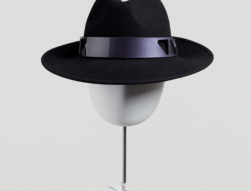 Sally-Ann Provan - Kenzy wool felt fedora hat with acrylic trim - black - front view