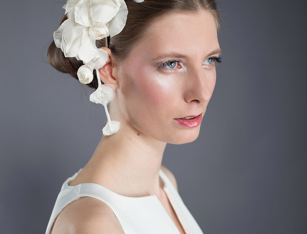 Eve handmade bridal wedding headpiece of silk lilies and orchids