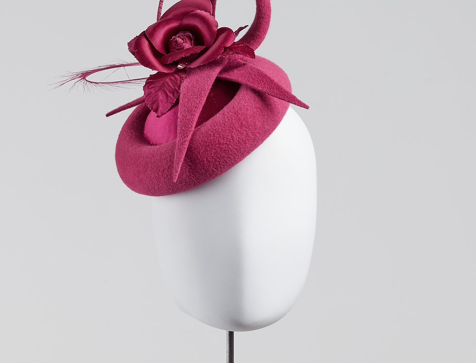kameria felt and silk pillbox hat with camellia and feathers - front view