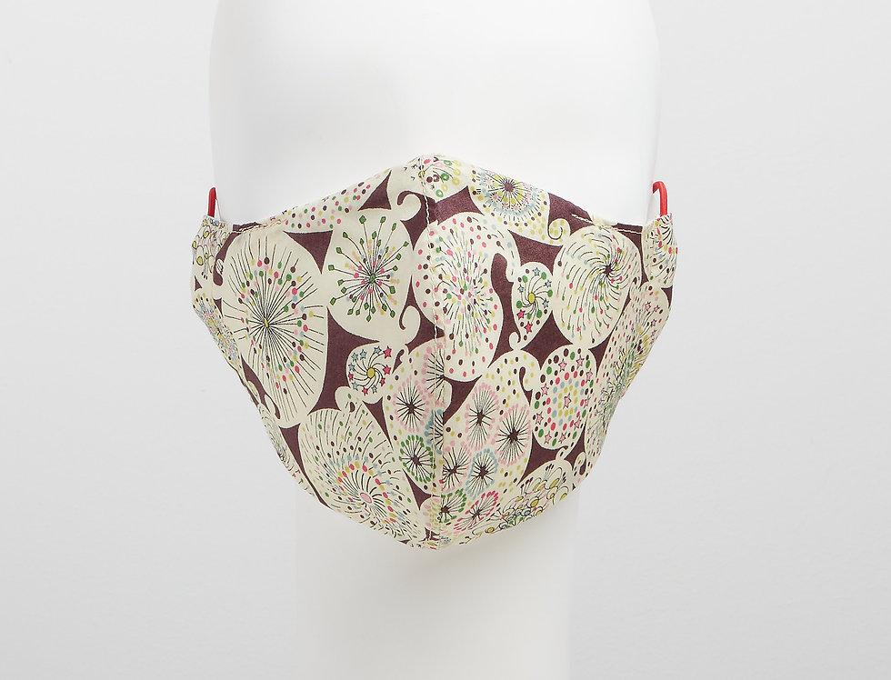 Liberty of London - Astro Flower 100% tana lawn cotton face mask, face covering with adjustable elastics - front view