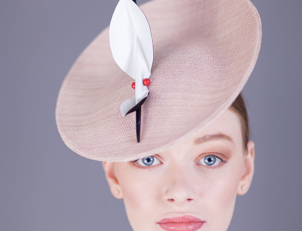 Maru small saucer hat with origami leaf trim and two pearls