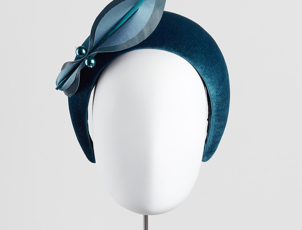Keomi velvet bandeau headband with abstract bow - front view