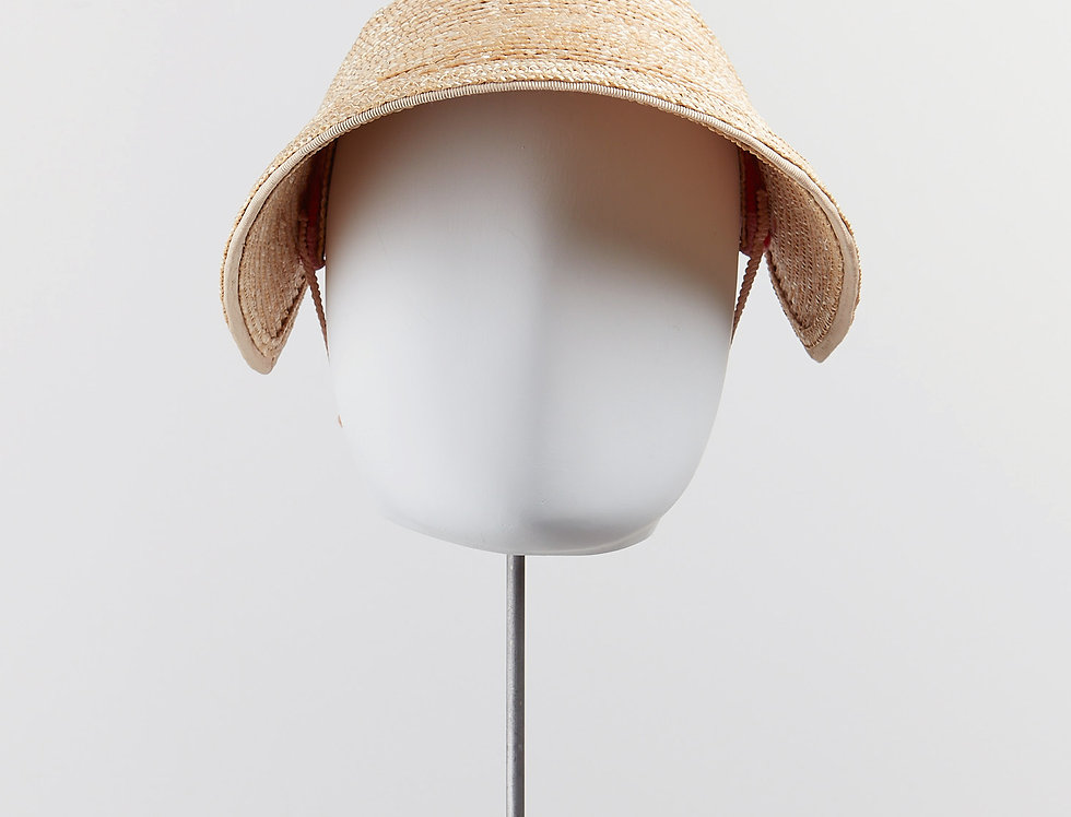Wiggle straw sun visor with coloured braid detail at back - front view