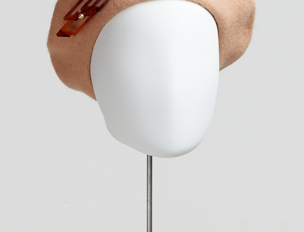 camel 100% wool beret with laser-cut acrylic brooch with Swarovski pearls - front view