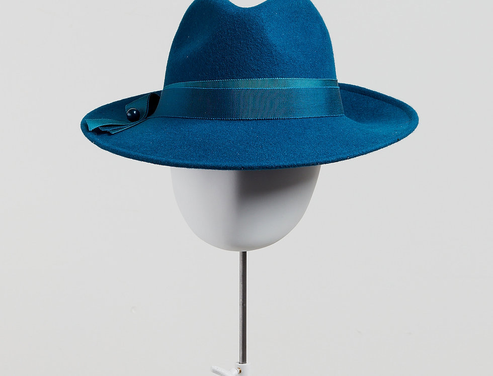 Sally-Ann Provan - Kenzy wool felt fedora hat with ribbon trim - teal - front view