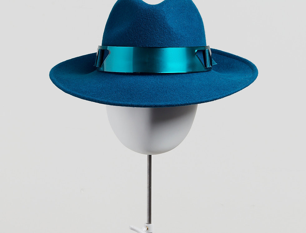 Sally-Ann Provan - Kenzy wool felt fedora hat with acrylic trim - teal -front view