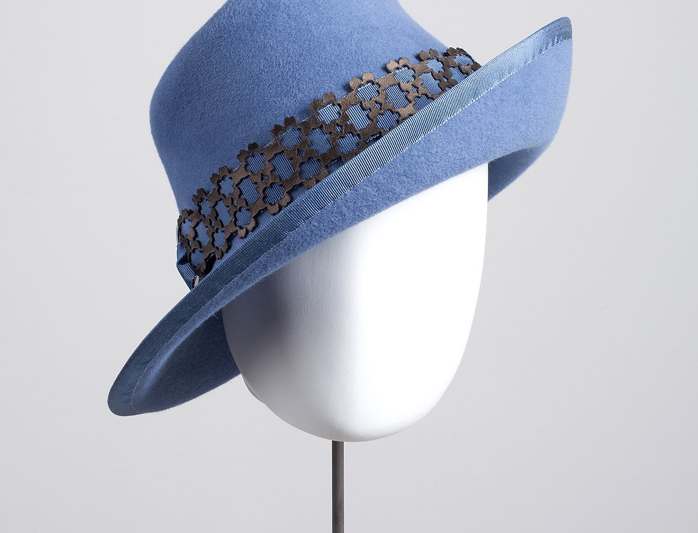 Yoko felt trilby hat with geometric patterned leather hatband - front view