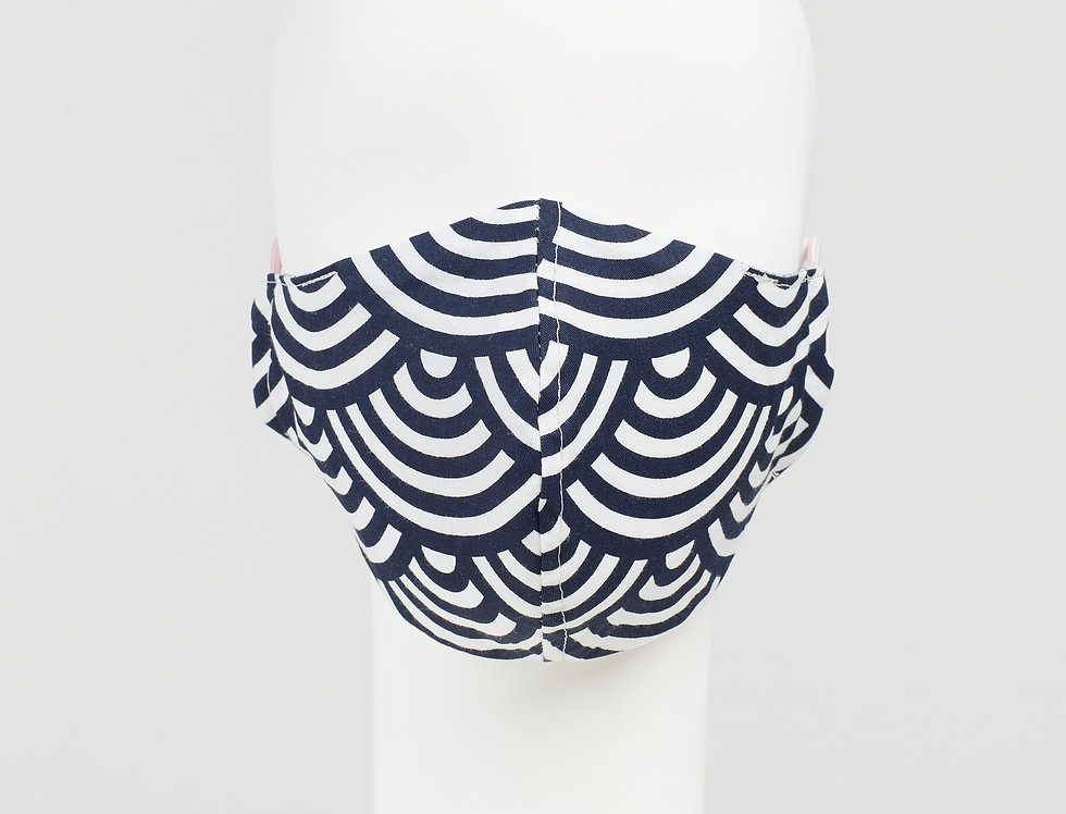 Japanese cotton - scallop wave print face mask - face covering - front view