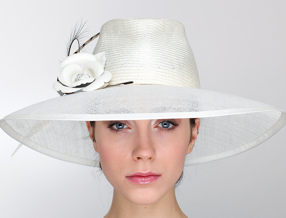 Paola smart fedora hat with transparent brim and leather camelia and curled pheasant feathers