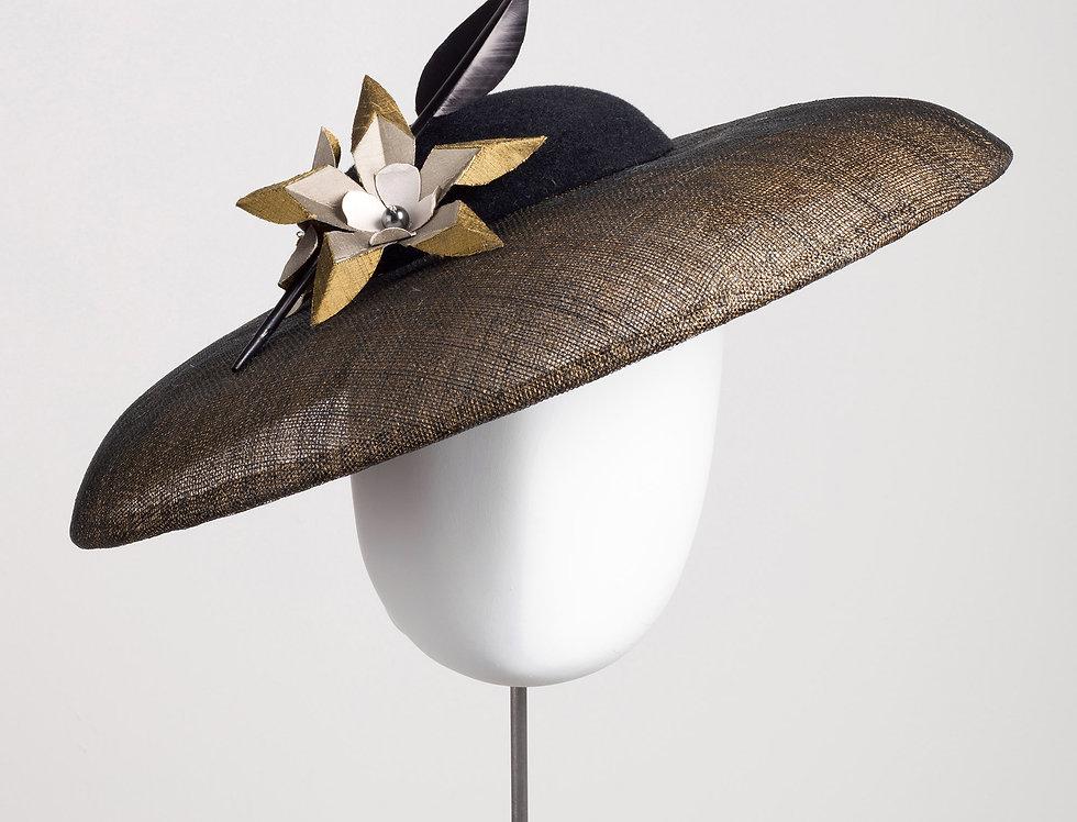 Kiku winter formal hat - shot sinamay brim with felt crown
