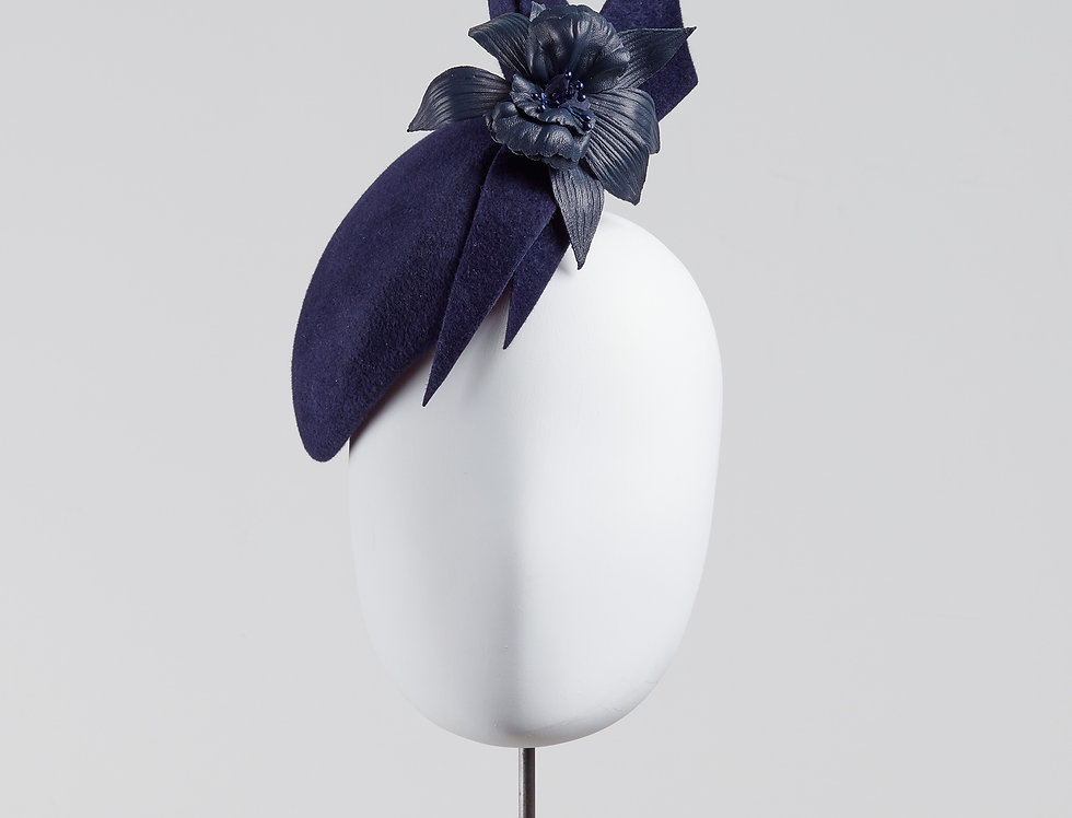 Ya felt beret pillbox hat with leather orchid and bow tails - front view