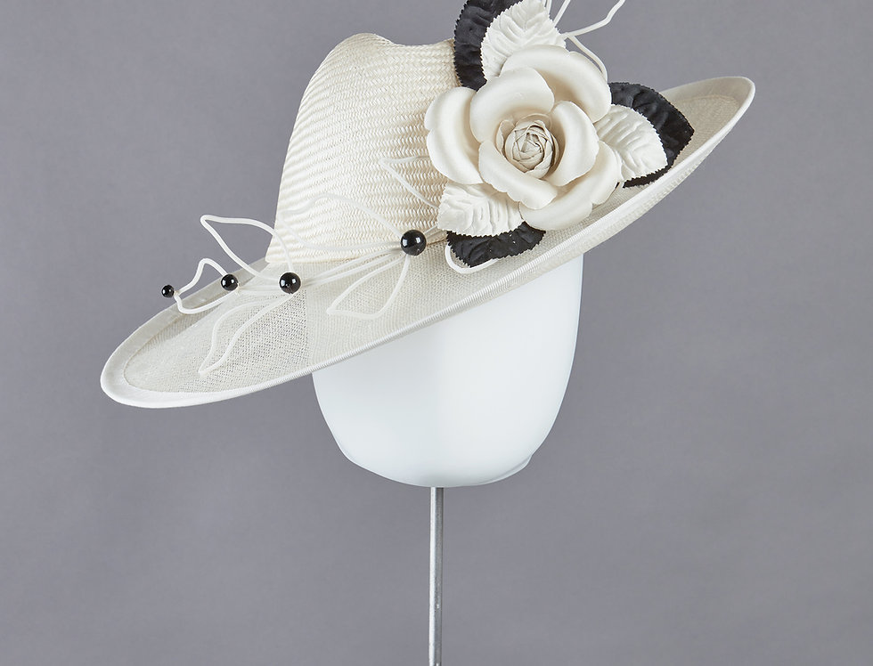 Sally-Ann Provan - Antonie smart occasion fedora style hat with translucent brim and silk camellia - front view