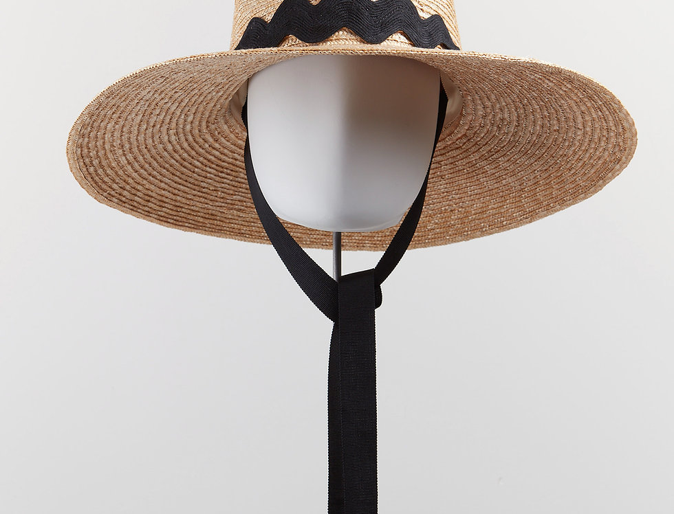Wiggle straw fedora sunhat with black chin ties - front view