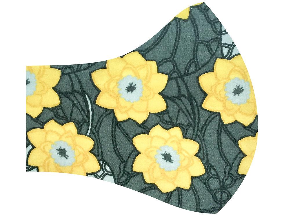 Liberty of London - Art Nouveau yellow aqua flowers 100% tana lawn cotton face mask, face covering with adjustable elastics