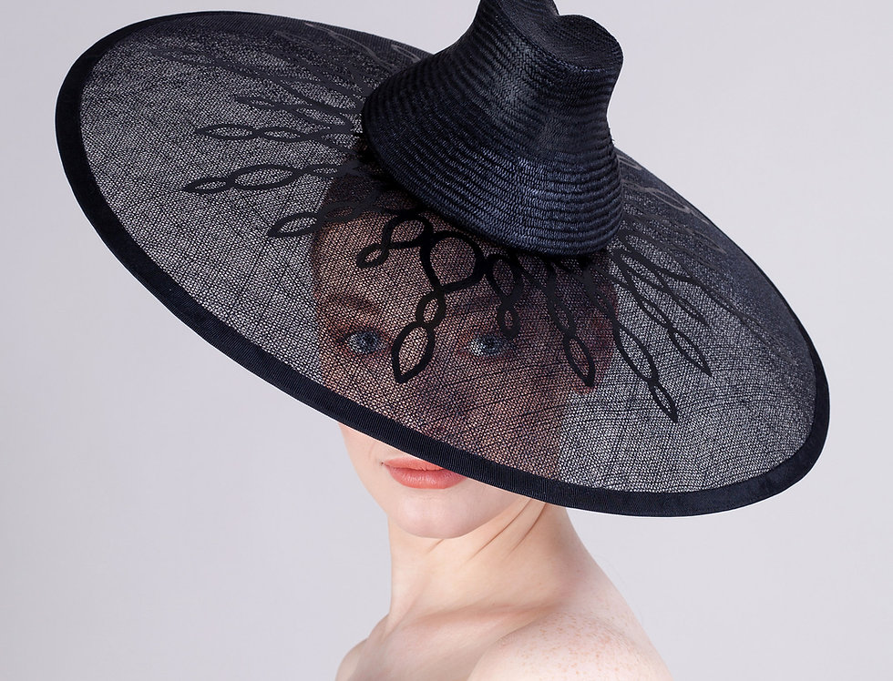 Aiko coolie style hat with transparent brim and inlaid large flower