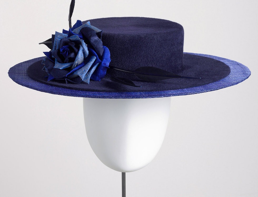Akira felt and straw boater hat with large silk rose for winter wedding and events
