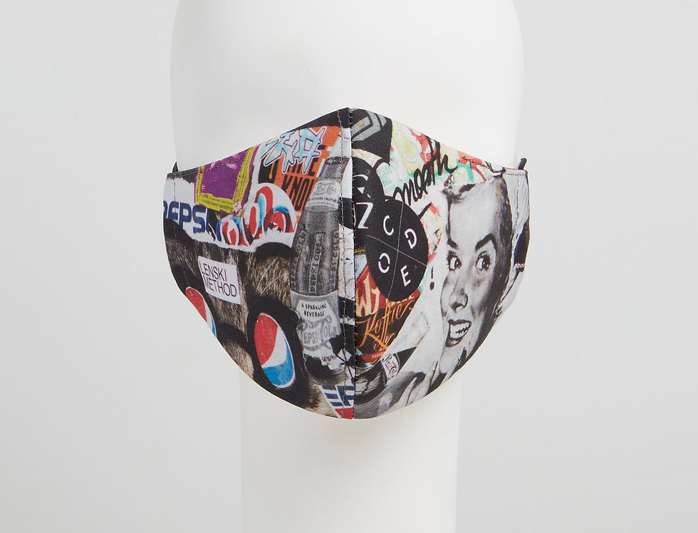 street art graffiti face mask - cotton face covering - front view
