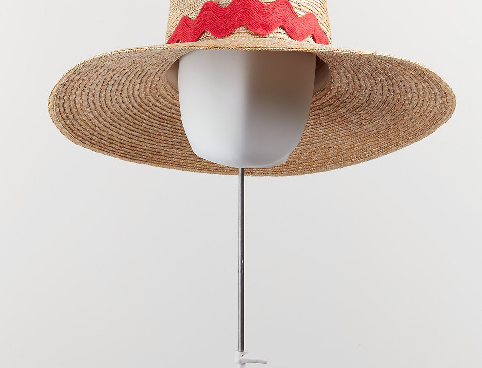 Wiggle straw fedora sunhat with red trimming - front view