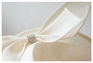 Sally-Ann Provan custom-made ivory straw hat with diamante detail