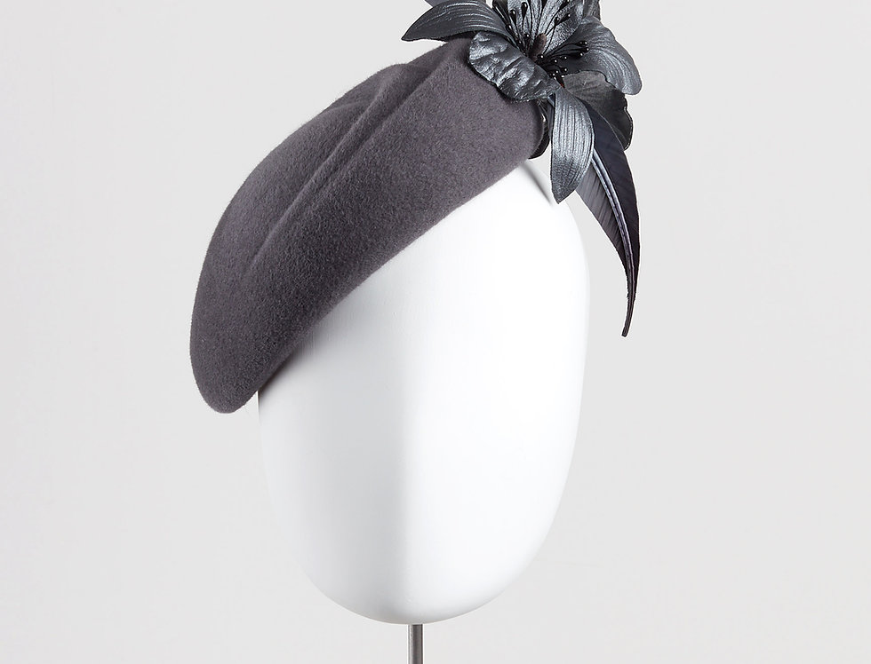 Haya winter beret felt pillbox hat with leather orchids - front view