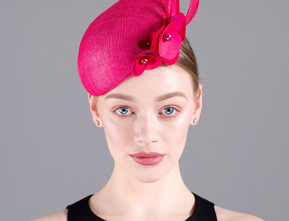 Alyssa teardop shaped perching hat with sinamay twist and origami flowers