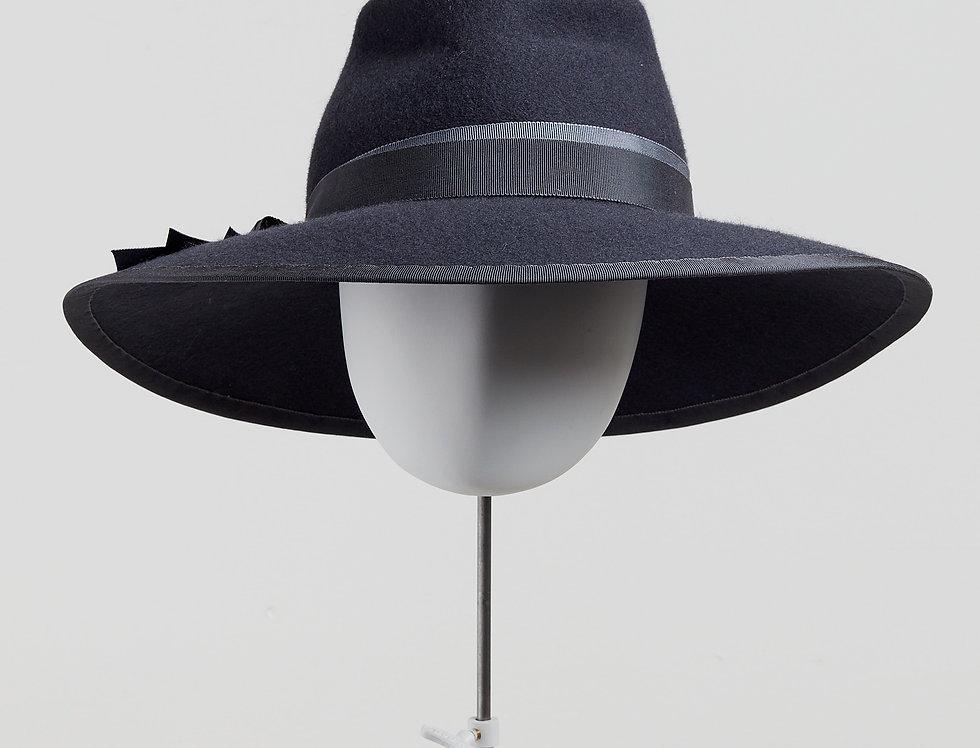 Sally-Ann Provan - Blair wool felt fedora hat with ribbon trim - slate grey - front view