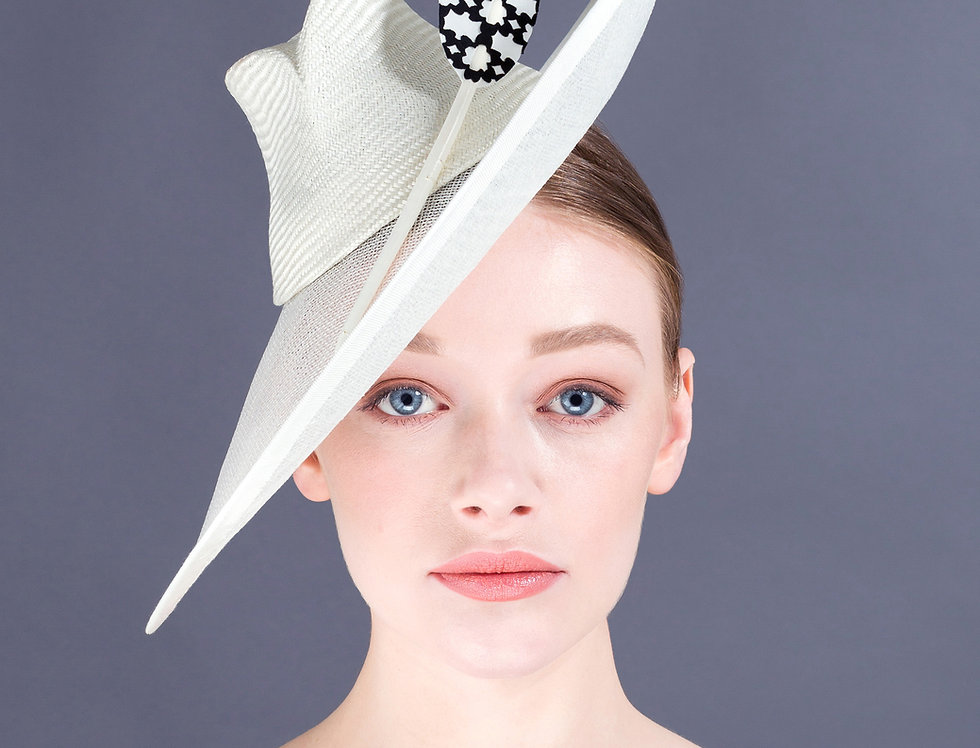 Asami 1940s inspired hat with steep angled brim and patterned feather
