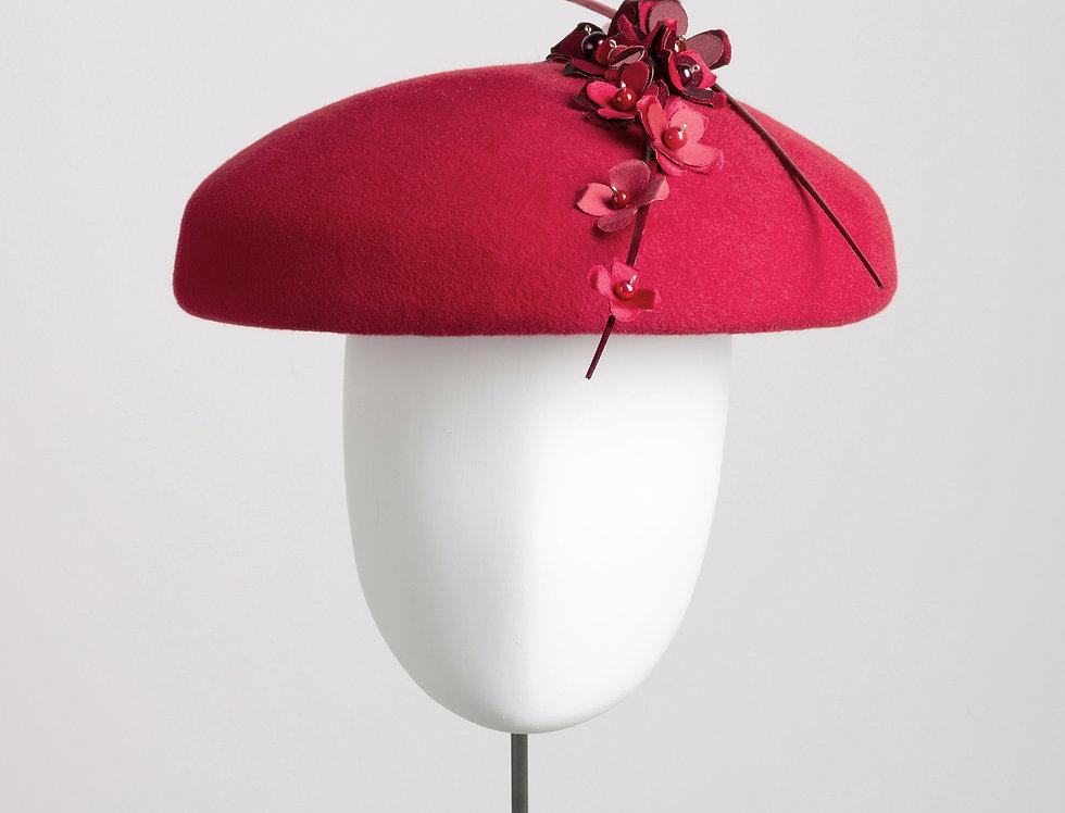 Misa felt coolie style hat with silk underbrim and flower spray