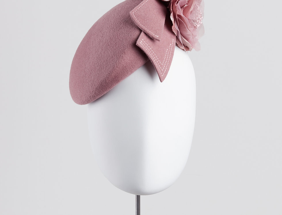 Nera felt beret pillbox hat with silk peony rose and bow loops - front view