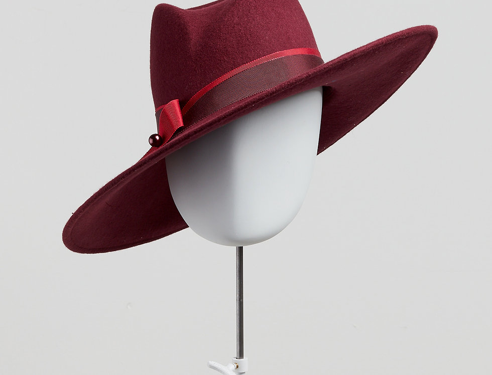 Sally-Ann Provan - Fenella wool felt fedora hat with ribbon trim - wine colour front view