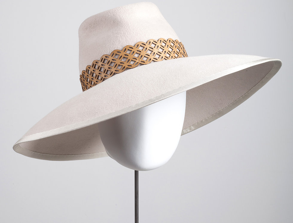 Bara large fedora hat with geometric patterned leather hatband